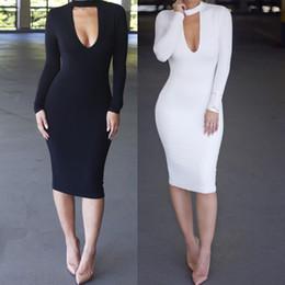 Wholesale Cheap Maxi Dresses For Women - Sexy Club Dress 2017 Long Sleeve Women Autumn Winter Dress Fashion Cutout White Black Bodycon Bandage Dresses For Women Cheap Clothing