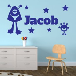 Wholesale Alien Wall - Custom-made Any Name Aliens Stars Space Personalised Wall Sticker Vinyl Decal Kids Room Decoration