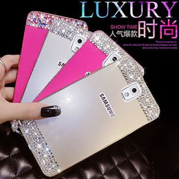 Wholesale S4 Back Crystal - Bling crystal Metal Bumper Frame Case Back Cover For Samsung Galaxy note 4 3 N9000 S5 i9600 G900 S4 S6 S6 edge rhinestone case