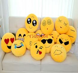 giocattoli morbidi di emoticon Sconti EMS Spedizione Gratuita Morbido Emoji Faccina Emoticon Cuscino Rotondo Giallo Cuscino Farcito Peluche Bambola Regalo Di Natale, 20 pz / lotto