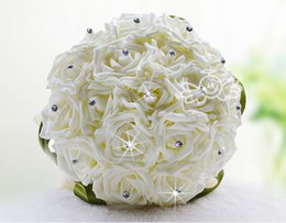 Wholesale Sell Wedding Bouquets - Hot selling Crystal Bridal Wedding Bouquet Hand Made Top Quality Artifical Pearl Beaded Silk Rose Flower Bridesmaid Bride Bridal Bouquets