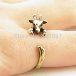Wholesale Giraffe Girls - Wholesale-Hot Sale Giraffe Animal Wrap Rings for Women and Girls Unique Rings Fine Jewelry