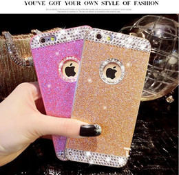 Wholesale Iphone4 Rhinestone Case - Rhinestone Diamante Glitter Case With Bling Powder Protective Shell For iPhone4 4S 5 5s iphone 6 6plus Drop resistant Six Colors