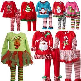 Wholesale Girls Santa Set - 2016 baby Christmas Cartoon outfits girls christmas clothing sets elk snowman Santa Claus long Sleeve t Shirt cotton pants 2pc Set