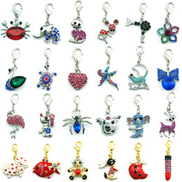 Wholesale Dangle Charm Mix - Mix Sale Fashion Charms Dangle Twenty-four DIfferent Rhinestone Pattern Lobster Clasp Charms DIY Pendants Jewelry Accessories