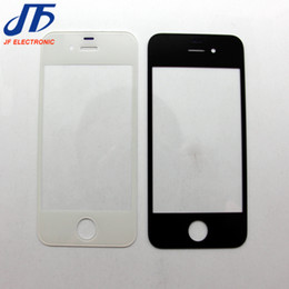 Wholesale Screen Lcd Glass Iphone 4s - 20pcs lot Free Shipping Replacement LCD Front Touch Screen Glass Outer Lens for iPhone 4 4S Black White