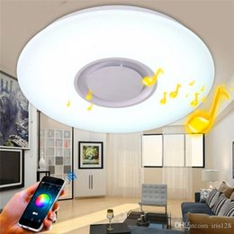 Wholesale Bluetooth Surface Speaker - LED Ceiling Light and RGB Ambient Light with bulit-in Bluetooth Speaker LED Bluetooth Music ceiling light 24W living room bedroom