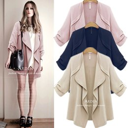 Wholesale Discount Winter Jacket - Wholesale- Big Discount 2015 Fashion Women Slim Loose Cardigan Jackets Sexy Lady 5XL Long Sleeve Winter WindCoat Plus Size