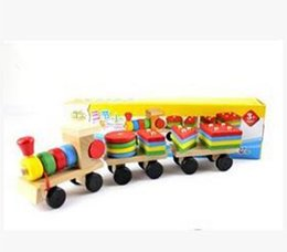 Wholesale Build Wooden Train - 2015 new Baby Toy Colorful baby wooden toy pull train wood building blocks toys free shipping
