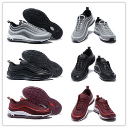 Wholesale Port Red - Men Maxes 97 17 Ultra Metallic Silver Triple Black NOBLE RED Port Wine Running Shoes Mens Maxes 97 Athletic Sport Trainers With Box