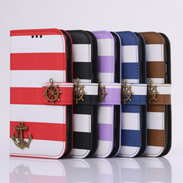 Wholesale Iphone4s Leather Cases Stand - New Cute stripe Pirate Ship PU flip wallet card slot leather Case Cover mobile phone cases with stand For iphone4S 4C iphone5S iphone6 6S i6