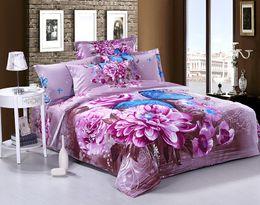 Wholesale Butterfly Sheets Comforter Sets - Wholesale-3D Purple floral blue butterfly cotton bedding comforter set queen size bedspread duvet cover bed in a bag sheet bedroom linen