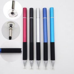 Wholesale Tablet Surface Ipad - Transparent Sensing Head Universal Capacitive Stylus Styli Pen Metal Sucker For Tablet ipad tab Cellphone Phone Microsoft Surface RT Pro