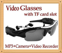 Wholesale Mini Tf 2g Cards - Original Mini DVR Sunglasses Video Camera Headset Recorder MP3 Player Function Hidden DV With TF Card Slot with reatil box