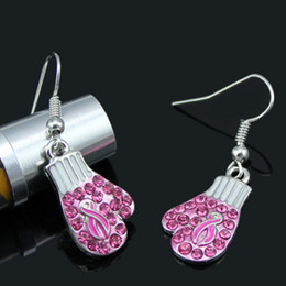 Newst Breast Cancer Awareness Jewelry Earrings, Breast Cancer Pink Ribbon Fighting Box Gloves Earrings desde fabricantes