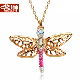 Wholesale Gold Necklace Lin - Ming Lin, Austria crystal elements Diamond gold dragonfly necklace female short paragraph clavicle Korean jewelry