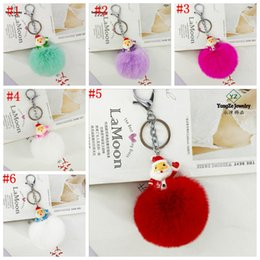 Wholesale Cute Android - 6 Color Puff Ball KeyChains Cute Bird KeyChains Kids Womens Personalised Rings Android KeyChains Car Bag Santa Claus 15*8cm YYA749