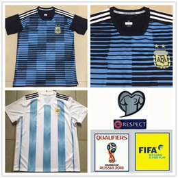 Wholesale Free Shipping World - New 2018 World Cup Argentina home soccer Jersey 18 19 MESSI DI MARIA AGUERO thai quality Argentina Camisas football shirts Free Shipping
