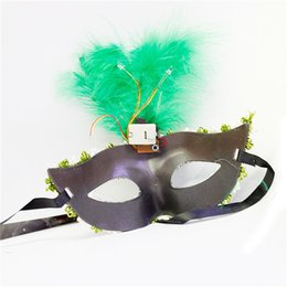 Wholesale Crocodile Halloween Mask - Wholesale-Crocodile Pattern Party Masquerade Masks With Feather Crown Mask Female Halloween mascaras A920