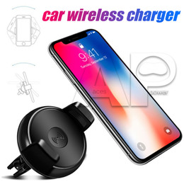 Wholesale Eu Phone Charger - Phone Holder Qi Wireless Car Charger 360 Degree Rotation Car Holder Qi Wireless Charger Pad For Samsung S8 Plus Note 8