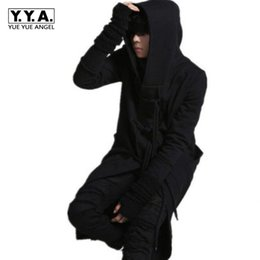 Wholesale Men S Belted Trench Coat - Wholesale- Spring Top Brand Quality Mens Gothic Long Loose Punk Long Jackets Male Toggle Trench Hooded Coats Black Personality Jackets