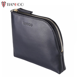 Wholesale Solid Color Clutch Bags - Tianhoo Women Genuine Leather Makeup Bag Professional Cosmetic Cases Black Color Phone Pouch Clutch Bag