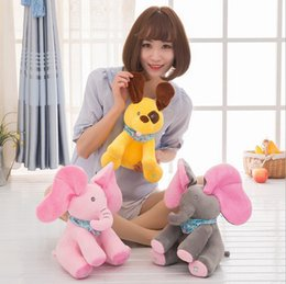 Wholesale Singing Plush Toys Wholesale - Peek-a-Boo Singing Elephant 30cm Stuffed Baby Toy Plush Animal Play Music Dog Kids Electric Stuffed Toys 100pcs OOA3360
