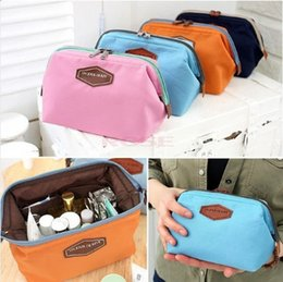 maquillage bleu marine Promotion Fashion Designer Double Zipper Cosmetic Bag Pour Femmes Maquillage Organisateur Dames Voyage Cosmétique Sacs Cas Bleu Rose Navy Orange Couleurs Vente