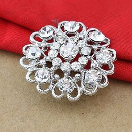 Wholesale Red Heart Rhinestone Brooch - Lovely Heart Flower Party Women Brooch Blue Red Green Clear Pink Color Jewelry Pins