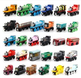 Wholesale Wood Magnetic - Wooden Toy Vehicles Wood Trains Model Toy Magnetic Train Great Kids Christmas Toys Gifts for Boys Girls b985