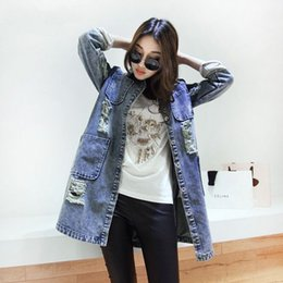 Wholesale Denim Outwear Women - XXXL 2015 New Fashion Ladies Jean Jacket Females Outwear Han Edition Loose Hole Cowboy Women Denim Jacket Coat #P1156