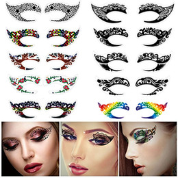 Wholesale Eyeshadow Tattoos - New Exclusive Party Makeup Eye Face Tattoo Waterproof Disposable Eyeshadow Sticker Rock Style Party Makeup Girls