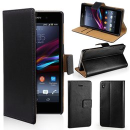 Wholesale xperia mini case - For Sony Xperia Z3   Z3 Compact mini Real Genuine Leather Wallet Card Stand Case Cover For Z3mini