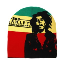 Beanie a maglia rasta online-All'ingrosso-2pcs / lotto Rasta Beanie Hat Knit Striped Plain Cappellino Hip Hop Bob MarleyStar Lion Of Judah Nero Rosso Giallo Verde