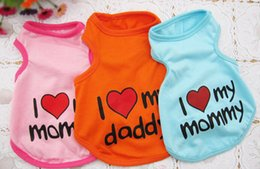 "Wholesale I Love Daddy Unisex - Plumblossom 2016 Hot sale New Pet Dog Clothes Cotton Sportswear Vest Cool Clothes for Dogs Clothing ""I love my mommy daddy"" DHL freeshipping"