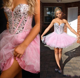 Wholesale Lace Mini Dress China - Pink 2015 Cheap Prom Homecoming Dresses A Line Sweetheart Sleeveless China Beaded And Crystals Corset Back Tulle Semi Formal Dress Short
