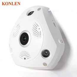 Wholesale Ip Kamera Outdoor - HD WiFi Panoramic IP Camera 3MP 360 Degree Fisheye Network CCTV Security Kamera Video Storage Remote IR-CUT Two Way Audio KONLEN