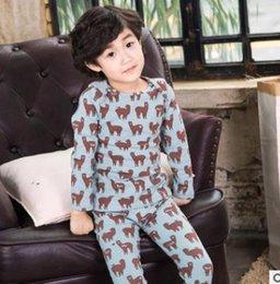 Wholesale Camel Winter - Kids pajamas boys girls camel printed long sleeve tops+cotton elastic pants 2pcs sets children Warm suits Kids household sleepwears G1601