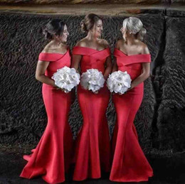 Wholesale Lace Wedding Dress Mermaid China - Charming 2017 Red Satin Off Shoulder Mermaid Bridesmaid Dresses Sexy Long Maid Of Honor Wedding Guest Gowns Custom Made China