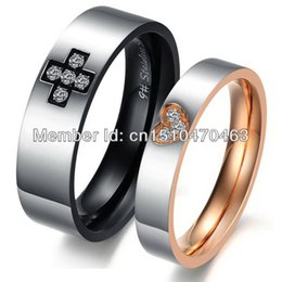 Wholesale Cute Cross Ring - fashion men  women cross and heart rings stainless steel cute Couple Jewelry his and her promise ring
