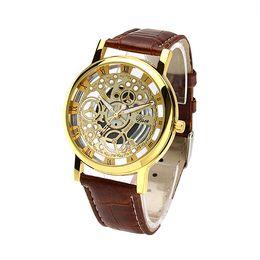 Wholesale Cool Wheels - Greek Numerals Dial Watches Cool Men Retro Hollow quartz Watch Leather Vintage Skeleton Wheel Gear Totem Watch
