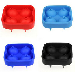 Wholesale Whiskey Tray - Silicone Ice Ball Maker Tray Molds 4 Balls Round Ice Making Mould for Whiskey Cocktail Wine Beer Beverage Party Bar Q1