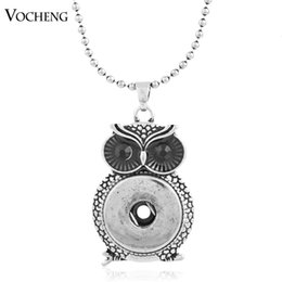 Wholesale Brass Owl Button - VOCHENG NOOSA Snap Owl Pendant Jewelry 18mm Metal Button Necklace (NN-344)