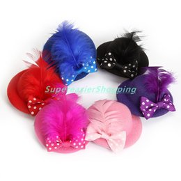 Wholesale Headwear Caps - 6pcs lot Mini Hat Hair Clip Feather Bowknot Fashion Party Top Cap Fascinator Girls Hair Accessories Christmas Decor Headwear