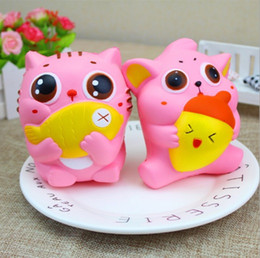 Wholesale Plastic Pussy - 20PCS Jumbo Cute Squishy Cat Hold Fish Nut Soft Kawai Pussy Kitty Slow Rising Squeeze Bread Cake Sweet Scented Kid Xmas Toys Gift