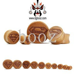 Wholesale Superman Ear Tunnels - Wholesale superman wood saddle ear gauges plugs flesh tunnels piercing Body Jewelry size 10-28mm