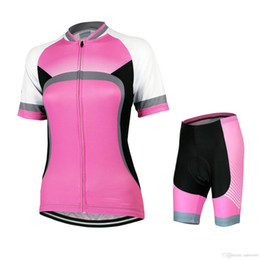 Costume di ciclismo online-2016 Lastest Cambiamento graduale Pink Compressed Cycling Costume Classic Style Cycling Jersey Donna riflettente High-stretch Summer Bike Clothing