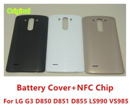 Wholesale G3 Batteries - New Original Battery Cover For LG G3 D850 D851 D855 LS990 VS985 Back Cover Housing Door Case With NFC Chip