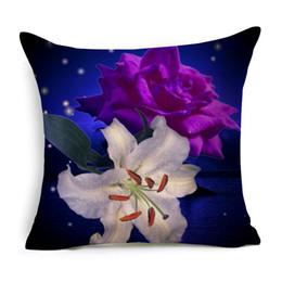 Wholesale Pink Flower Pillow Case - Natural Plants Flowers Cushion Cover Pattern Pillow Case 43cm * -43cm Polyester Cotton Square Pillow Home Textile