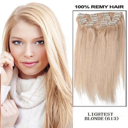 "Wholesale 613 Lightest Blonde - 20"" 22"" 24"" 26""160g pc 613# lightest Bleach blonde 100% human hair  brazilian hair clips in extensions full head"